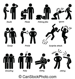 Human Man Action Emotion - A set of human pictogram...