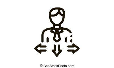 Human Man Arrows Icon Animation. black Human Man Arrows animated icon on white background