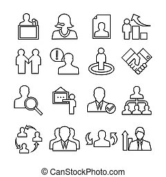 Human management icons set. Trendy flat style for graphic design, web-site. Stock Vector illustration.