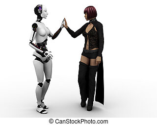 Human meeting robot. - A female robot and a female human...