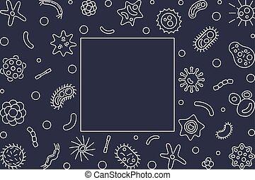 Human microbiota horizontal frame. Vector outline...