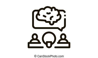 Human Microphone Brain Icon Animation. black Human Microphone Brain animated icon on white background