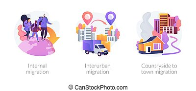 Human migration abstract concept vector illustrations. - ...