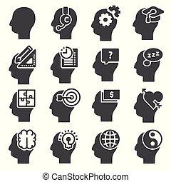 Human mind process, people thinking, brain, mental health.