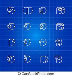 Human mind processes icons set