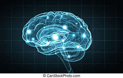 Human mind - Science image with human brain on blue...