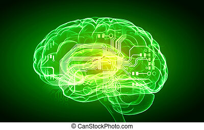 Human mind - Science image with human brain on green...