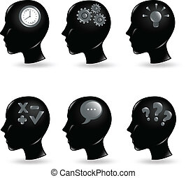 human minds - collection of human heads with different...