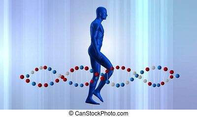 Digitally generated animation of human model walking with DNA double helix rotating