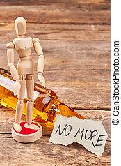 Human model dummy, alcohol, message.
