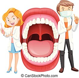 Human Mouth Anatomy with Dentist