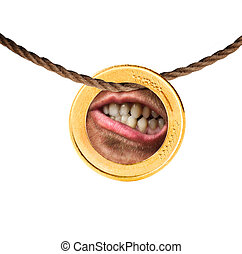 Human mouth in the coin