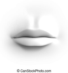 human mouth isolated on white 3d illustration