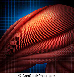 Human muscle pain or myalgia illness as a medial healthcare concept with a three dimensional illustration of anatomical muscle fibres with a highlighted area of aching discomfort as a symbol of sports injury or chronic illness.