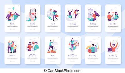 Human needs set. Personal development and self-esteem, education and work, care for health. Isolated vector illustration in cartoon style