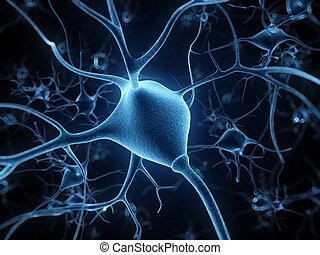 Human Nerve cell - 3d rendered illustration - nerve cell
