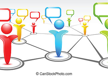 Human Networking - illustration of human icon with speech...