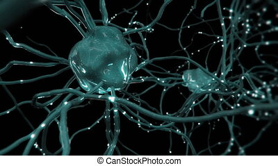 Human neurons / neural net with firing synapses.