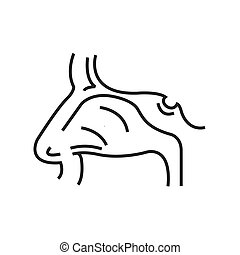 Human Nose, Medical Doctors Otolaryngology icon, line icon...