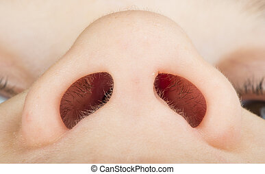 Human nose close up studio shot. Lowest view point
