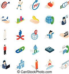 Human occupation icons set, isometric style
