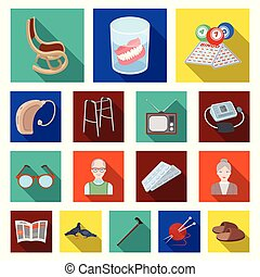 Human old age flat icons in set collection for design. Pensioner, period of life vector symbol stock web illustration.