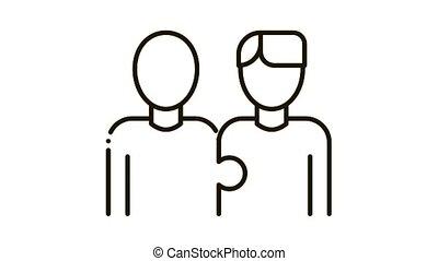 Human One Whole Icon Animation. black Human One Whole animated icon on white background