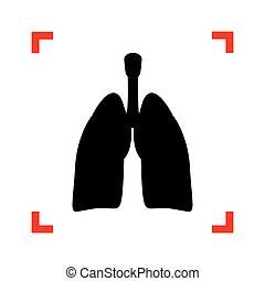 Human organs Lungs sign. Black icon in focus corners on white ba