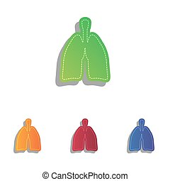 Human organs Lungs sign. Colorfull applique icons set.