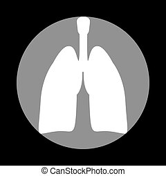 Human organs Lungs sign. White icon in gray circle at black back