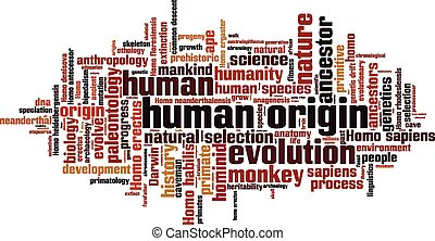 Human origin word cloud concept. Vector illustration