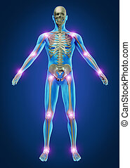 Human painful joints with the skeleton anatomy of the body with the sore joints glowing as a pain and injury or arthritis illness symbol for health care and medical symptoms.