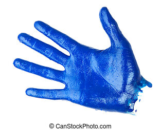 human palm covered blue oil paint. isolated on white background