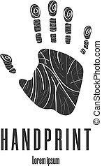 Human palm. Handprint icon. Logo, emblem. Clean and modern vector illustration for design, web.
