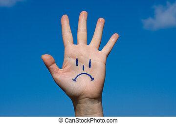 Human palm with sorrow pattern - Human palm with sorrow on ...
