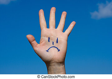Human palm with sorrow pattern - Human palm with sorrow on...