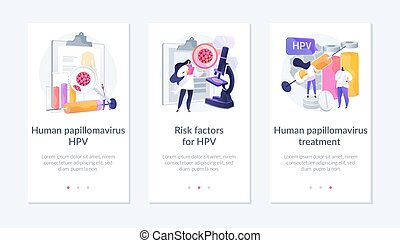 Virus diagnostic, infected cells analyzing. Human papillomavirus HPV, risk factors for HPV, human papillomavirus treatment metaphors. Mobile app UI interface wireframe template.