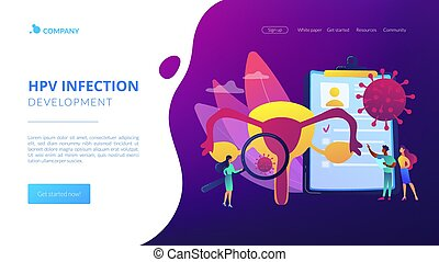 Sexually transmitted infection. Disease treatment, prevention. Human papillomavirus, HPV infection development, skin-to-skin viral infection concept. Website homepage landing web page template.
