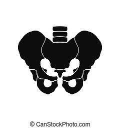 Human pelvis black icon