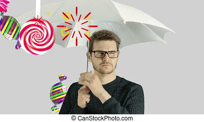 Human person man who do not like sweet candies lollipop...