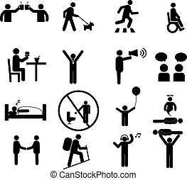 Human pictogram set vector.silhouette human activity,General...
