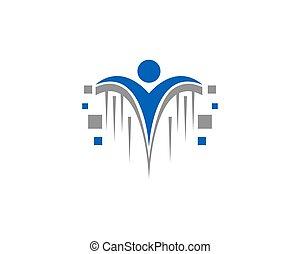 Human pixel Digital Technology Logo Template