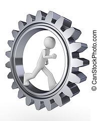 Human power (man walking inside gear)
