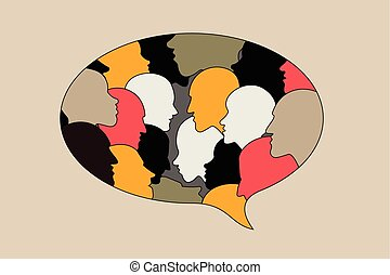 Human profile head discussion in dialogue bubble. Black and...