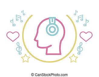 human profile head with earphones neon lights vector ...