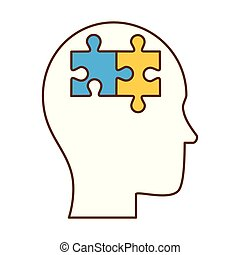 human profile thinking with puzzle pieces