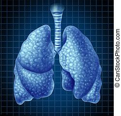 human, pulmões, órgão, como, um, símbolo médico
