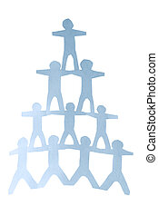 Human pyramid - Human team pyramid holding hands