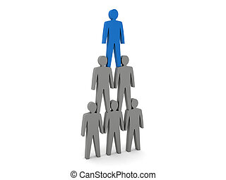 Human pyramid. Team hierarchy. Company boss. Concept 3D...