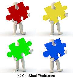 human, quebra-cabeça, jigsaw, personagem, segurando, 3d